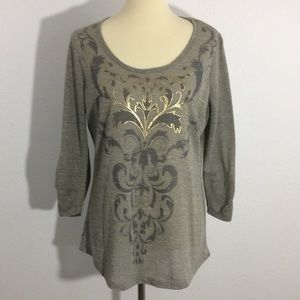 Madison & Berkeley Metallic Semi Sheer Graphic Top